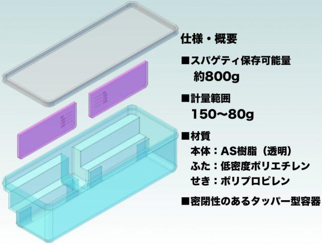 計量機能付きスパゲティ保存容器の製品仕様